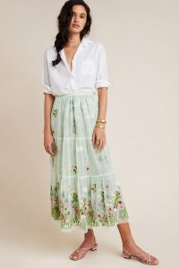 Alice Archer x Anthropologie Coretta Embroidered Tulle Maxi Skirt Mint / green summer skirts