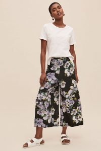 Alice Archer x Anthropologie Floral-Print Wide-Leg Trousers