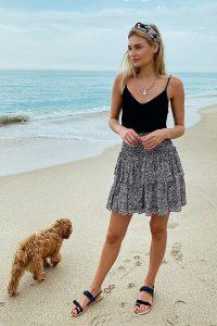 Anthropologie Jennalyn Tiered Mini Skirt Black & White