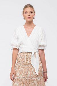 Kaani Balloon-Sleeve Wrap Top White