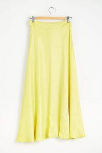 Alice Archer x Anthropologie Bias Cut Slip Skirt Chartreuse