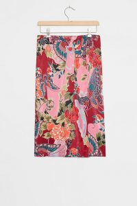 ANTHROPOLOGIE Mariana Sarong Midi Skirt / flower & butterfly prints