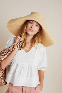 ANTHROPOLOGIE Cassandra Sun Hat / wide front-folded brim sun hats