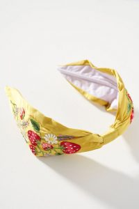 Alice Archer x Anthropologie Strawberry Headband Chartreuse / strawberries / embroidered headbands