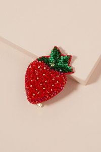 Alice Archer x Anthropologie Strawberry Beaded Hair Clip / fruit themed accessories / strawberries