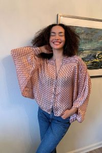 UO Ezra Printed Button-Front Blouse ~ sheer blousy tops