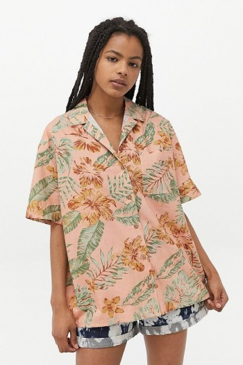 UO Morgan Floral Poplin Shirt ~ pink tropical print shirts