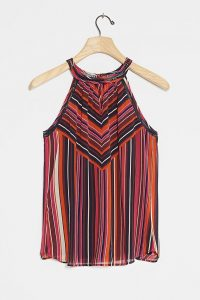 Daniel Rainn Sona Halterneck Tank Top Purple Motif / striped halter tops