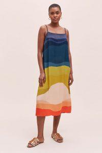 Anthropologie Maggie Slip Midi Dress | multicoloured cami dresses
