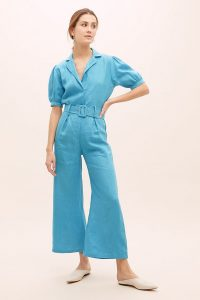Faithfull The Brand Frederikke Linen Jumpsuit Blue | puffed sleeve jumpsuits
