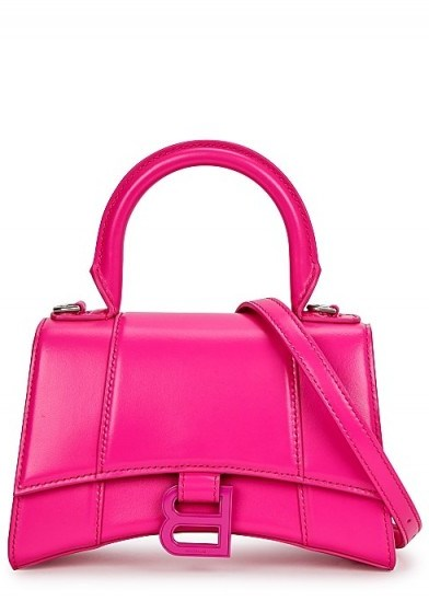 BALENCIAGA Hourglass XS fuchsia leather top handle ~ hot pink bags - flipped