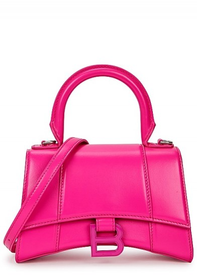 BALENCIAGA Hourglass XS fuchsia leather top handle ~ hot pink bags