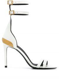 Balmain Poppy 95mm whte leather sandals – double ankle strap sandal