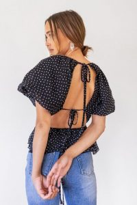 NASTY GAL Be Tie Baby Puff Sleeve Spotty Blouse / black open back top
