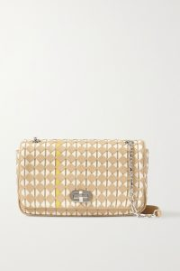 SERAPIAN Woven leather shoulder bag | beige chain strap flap bags