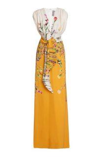 Lela Rose Belted Floral Crepe Gown