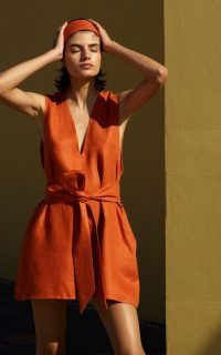 Bondi Born Belted Linen-Twill Mini Dress in Orange