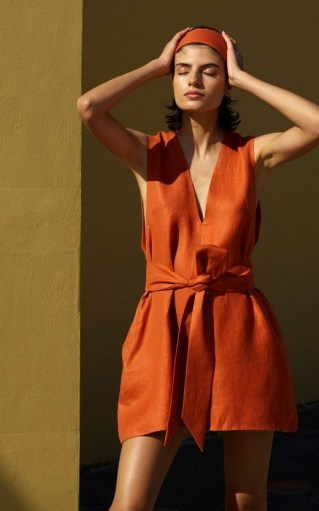 Bondi Born Belted Linen-Twill Mini Dress in Orange - flipped
