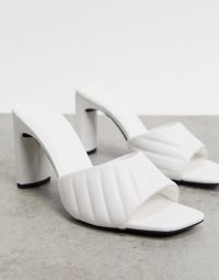 Quilted mules – Bershka pleated heeled mule in white