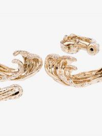 Bibi van der Velden 18K Yellow Gold Wave Diamond Earrings / diamonds / waves