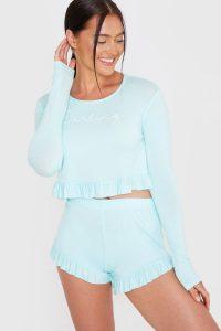BILLIE FAIERS MINT 'DARLING' SLOGAN FRILL HEM TOP AND SHORTS PYJAMA SET – pyjamas – nightwear