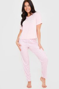 BILLIE FAIERS PINK 'FABULOUS' SLOGAN T SHIRT AND STRIPED TROUSERS PYJAMA SET