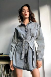 NASTY GAL Black Acid Wash Denim Longline Shacket – shackets – shirt style jacket
