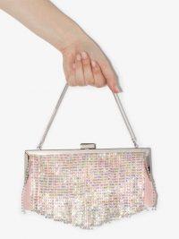 BLACK & BROWN Pattie crystal fringe shoulder bag / pink fringed evening bags
