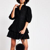 River Island Black broderie puff sleeve shirt dress | LBD