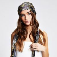 River Island Black chain print headscarf | boho accessories | printed head scarves