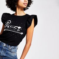 RIVER ISLAND Black 'Chaos' taffeta sleeve T-shirt / frill sleeved slogan tee