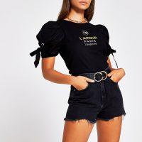 River Island Black Lamour Paris poplin tie tee | puff sleeve T-shirt