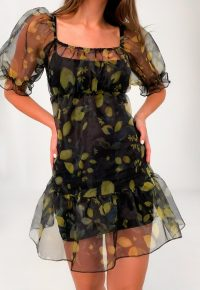 MISSGUIDED black lemon print organza tiered smock dress / semi sheer puff sleeve dresses