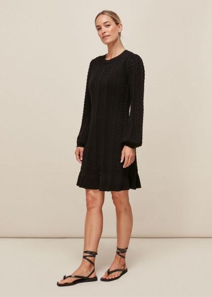 Whistles POINTELLE CROCHET FLIPPY DRESS | knitted LBD