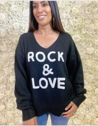 FOREVER UNIQUE Black Rock & Love Jumper / slogan sweater