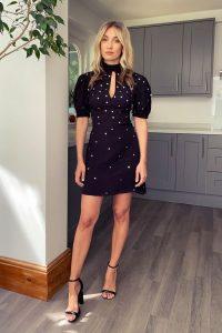 TOPSHOP Black Star Embellished Mini Dress / lbd