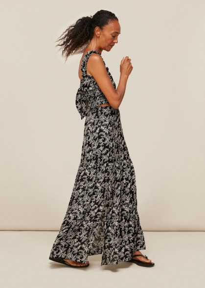 Whistles JASMINE PRINT SILK SKIRT | side split floral skirts