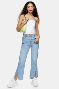 Topshop Bleach Exposed Seam Straight Jeans   split hems
