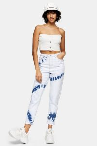 TOPSHOP Bleach Tie Dye Mom Tapered Jeans / high rise waist