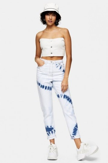 TOPSHOP Bleach Tie Dye Mom Tapered Jeans / high rise waist - flipped
