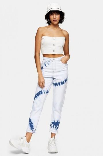 TOPSHOP Bleach Tie Dye Mom Tapered Jeans / high rise waist