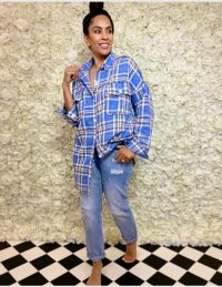 FOREVER UNIQUE Blue And White Premium Check Shirt / oversized shirts