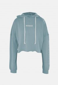 MISSGUIDED blue missguided hoodie / slogan-print raw hem hoodies