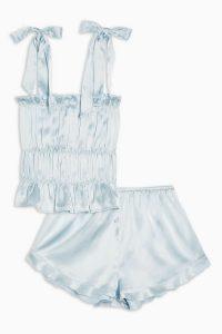 TOPSHOP Blue Satin Ruched Cami Pyjama Set – nightwear – pretty pyjamas