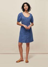 WHISTLES TARA SCOOP LINEN MIX DRESS ~ puff sleeve summer dresses