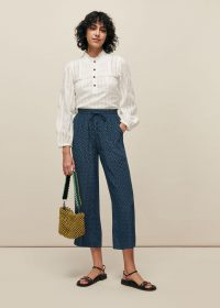 WHISTLES LATTICE PRINT TROUSER ~ lightweight cropped trousers