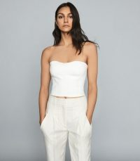 REISS BOBBI CROPPED BUSTIER TOP WHITE ~ strapless summer tops