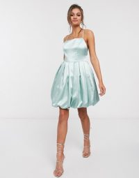 Boohoo Petite satin mini puffball dress in blue – party dresses with volume