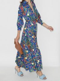 Borgo De Nor Clarissa Floral Print Shirt Dress ~ blue summer dresses