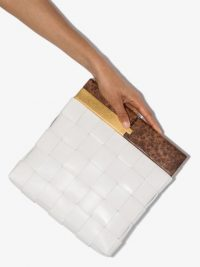 BOTTEGA VENETA BV Snap clutch / weave design bags / small chic white leather bag